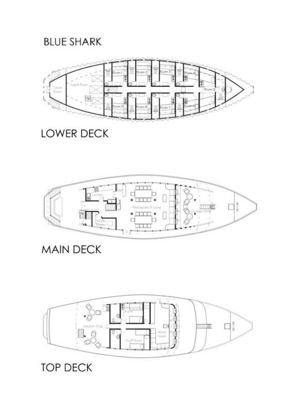 Tauchsafarischiff Eco Blue Shark One Deckplan