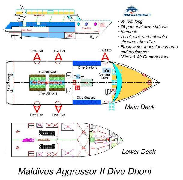 Dhoni Layout Tauchboot Maldives Aggressor II